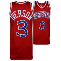 "ALLEN IVERSON Autographed 76ers ""97 ROY"" Authentic Red Jersey FANATICS"