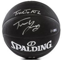 TRAE YOUNG Autographed Hawks Black True To ATL Spalding Basketball PANINI LE 111