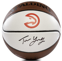 TRAE YOUNG Autographed Hawks Throwback White Panel Spalding Basketball PANINI