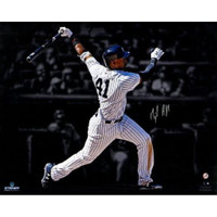 """MIGUEL ANDUJAR Autographed New York Yankees """"Hitting"""" 16"""" x 20"""" Photograph - STEINER"""