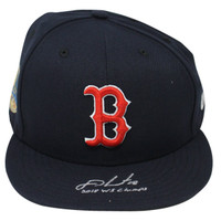 "J.D. MARTINEZ Autographed/Inscribed ""2018 WS Champs"" Boston Red Sox New Era Navy Home 2018 World Series Patch Fitted Hat STEINER"