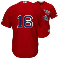 ANDREW BENINTENDI Autographed Boston Red Sox 2018 MLB World Series Champions Majestic Red Replica World Series Jersey FANATICS