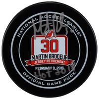 "MARTIN BRODEUR Autographed/Inscribed ""HOF 18"" New Jersey Devils Retirement Night Hockey Puck FANATICS"