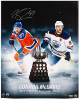 "CONNOR MCDAVID Edmonton Oilers Autographed ""Back To Back Art Ross"" 16 x 20 Photograph UDA"