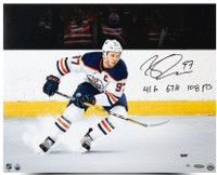 "CONNOR MCDAVID Edmonton Oilers Autographed / Inscribed ""Snow The Cameraman"" 16 x 20 Photograph Limited Edition of 97 UDA"