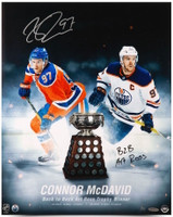 "CONNOR MCDAVID Edmonton Oilers Autographed / Inscribed ""Back To Back Art Ross"" 16 x 20 Photograph Limited Edition of 97 UDA"