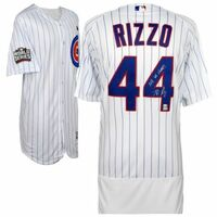 "ANTHONY RIZZO Autographed / Inscribed ""2016 WS Champs"" World Series Patch Authentic White Jersey FANATICS"