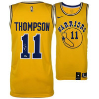 KLAY THOMPSON Autographed Golden State Warriors Nike Hardwood Classic Yellow Jersey FANATICS
