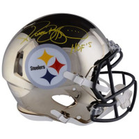 "JEROME BETTIS Autographed / Inscribed ""HOF 15"" Pittsburgh Steelers Chrome Authentic Speed Helmet FANATICS"