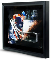 WAYNE GRETZKY Signed Oilers Stick Blade Break Through Photo UDA