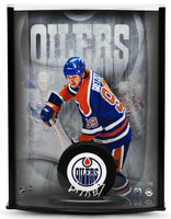 WAYNE GRETZKY Signed Oilers Puck Curve Display UDA LE 99