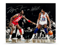 MICHAEL JORDAN & MAGIC JOHNSON AUTOGRAPHED 1987 ALL STAR MATCH UP 16 X 20 PHOTO.
