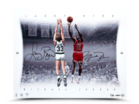 MICHAEL JORDAN & LARRY BIRD AUTOGRAPHED MATCH UP 16 X 20 PRINT.