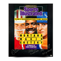 JOE MONTANA, MAGIC JOHNSON, & WAYNE GRETZKY AUTOGRAPHED & INSCRIBED 80'S DOMINANCE 20 X 24 SPORTS ILLUSTRADE COVER PRINT.
