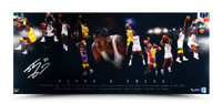 "SHAQUILLE O'NEAL AUTOGRAPHED ""ALPHA & OMEGA"" 36 X 15 PHOTO."