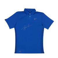 TIGER WOODS AUTOGRAPHED NIKE PERFORMANCE GRAPHIC ROYAL BLUE POLO
