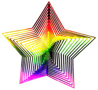 WIND TWISTER DECORATION STAR Shaped Rainbow Colors Garden Decor bcg