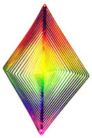 WIND TWISTER DECORATION DIAMOND Shaped Rainbow Colors Garden bcg