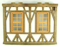 Playmobil 3666 Castle Parts House WALL 2 WINDOWS HTF Kings Medieval Knights bcg