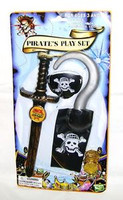 PIRATES PLAY SET Knife Patch Hook Coins Costume Accessories Toys New z
