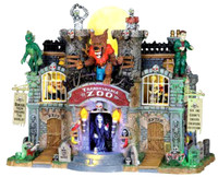 Lemax 05041 TRANSYLVANIA ZOO Spooky Town Animated Building bcg