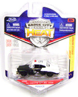 Jada '56 CHEVY BEL AIR POLICE CAR Black White Badge City Heat S 1:64 z