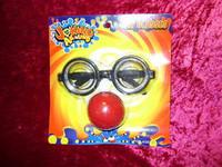 GAG GLASSES Red Clown Nose DORKY LENSES Funny Joke Geeky New z