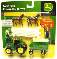 FARM SET 10 Pc WHITE FENCE HORSES MEN Ertl 35936 S 1:64 Figures z