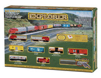 Bachmann 24008 N EXPLORER TRAIN SET Santa Fe F9 E-Z Track Gray New z