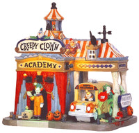 Lemax 55905 CREEPY CLOWN ACADEMY Spooky Town Lighted Building Halloween Decor bcg