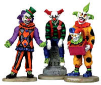 Lemax 12885 EVIL SINISTER CLOWNS Figurine Set of 3 Spooky Town Halloween Decor G Scale Figure bcg