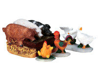 Lemax 92613 THE HOG TROUGH Christmas Village Figurines Set of 4 G Scale Figures bcg
