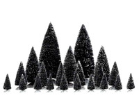Lemax 34968 PINE TREE SET 21 ASSORTED Christmas Village Snowy Trees Decor O S HO Scale bcg
