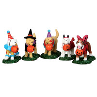 Lemax 52301 TRICK OR TREATING DOGS Spooky Town Figurine Set Halloween Decor bcg