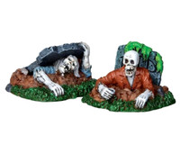 Lemax 22007 ZOMBIES!!! Figurine Set of 2 Spooky Town Halloween Decor Zombies O G Scale bcg