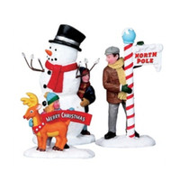 Lemax 02836 SETTING UP FOR THE SEASON Christmas Village Figurine Set of 3 G Scale Figures bcg
