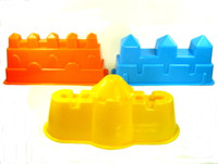 SAND MOLD SET OF 3 CASTLE WALLS BLUE YELLOW ORANGE Beach Toys Sandbox Summer bcg