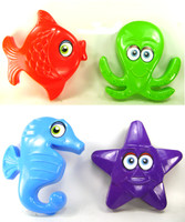 FISH OCTOPUS SEAHORSE STARFISH SAND MOLD SET of 4 Beach Toys Sandbox Summer bcg