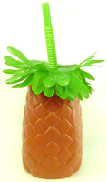 PINEAPPLE LOOKIN' CUP & STRAW Luau Party Plastic Drinking Glass Tiki Tableware bcg