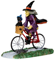Lemax 32109 BE-WITCHING BIKE RIDE Spooky Town Figurine Halloween Decor Witch bcg