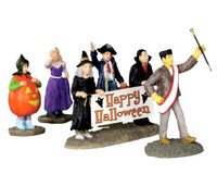 Lemax 32115 HALLOWEEN PARADE BANNER Spooky Town Figurine Set of 5 Decor Figure bcg