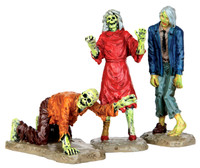 Lemax 42219 WALKING ZOMBIES Spooky Town Figurine Set of 3 Halloween Decor bcg
