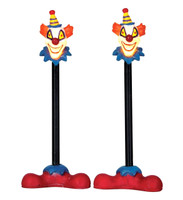 Lemax 64056 KILLER CLOWN LAMP POST Set of 2 Spooky Town Accessory Halloween bcg