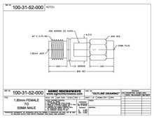 100-31-52-000:  1.85mm FEMALE TO SSMA MALE (BETWEEN-SERIES ADAPTER)