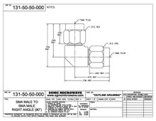 131-50-50-000:  SMA MALE TO SMA MALE, INTERNALLY SWEPT RIGHT ANGLE (IN-SERIES ADAPTER)