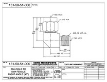 131-50-51-000:  SMA MALE TO SMA FEMALE, INTERNALLY SWEPT RIGHT ANGLE (IN-SERIES ADAPTER)