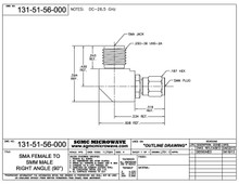 131-51-56-000:  SMA FEMALE TO SMM MALE, INTERNALLY SWEPT RIGHT ANGLE (BETWEEN-SERIES ADAPTER) DC-26.5 GHz