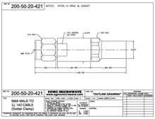 """200-50-20-421:  SMA MALE TO LL142 CABLE (SOLDER CLAMP) """"VITON"""" GASKET & """"O"""" RING"""