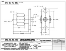 210-50-10-850:  SMA MALE TO .085 SEMI-RIGID CABLE, (2) HOLE FLANGE (DIRECT SOLDER)