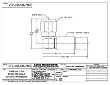 230-56-50-780:  SMM MALE R/A TO RD-178 CABLE, CRIMP ATTACHMENT